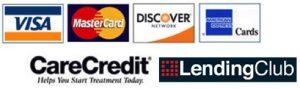 Visa, Mastercard, Discover, American Express, CareCredit, Lending Club